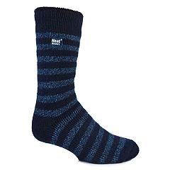 Men's Heat Holders Striped Twist Thermal Performance Crew Socks