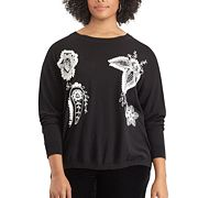 Plus Size Chaps Floral Embroidered Crewneck Sweater