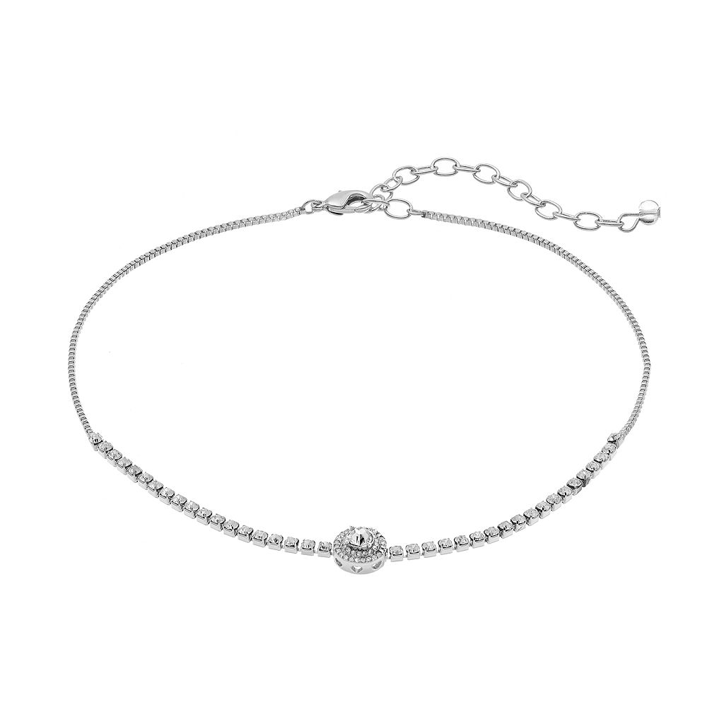 Napier Simulated Crystal Round Halo Choker Necklace