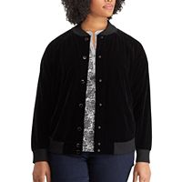 Plus Size Chaps Velvet Baseball Jacket