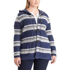 Plus Size Chaps Hooded Jacquard Cardigan