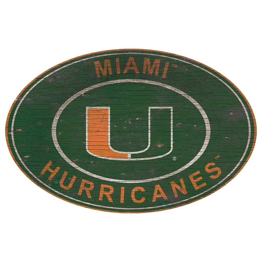 Miami Hurricanes Heritage Oval Wall Sign