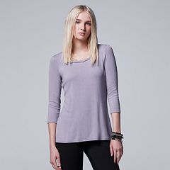 Women's Simply Vera Vera Wang Ribbed Crewneck Tee