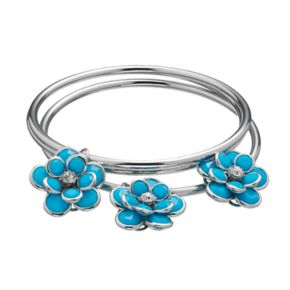 Blue Flower Charm Bangle Bracelet Set