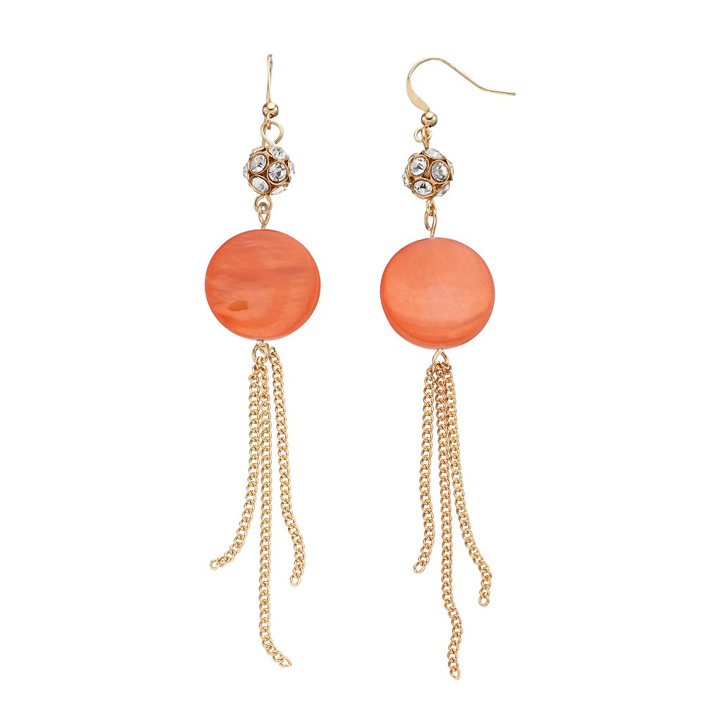 Peach Composite Shell Disc & Chain Fringe Nickel Free Drop Earrings