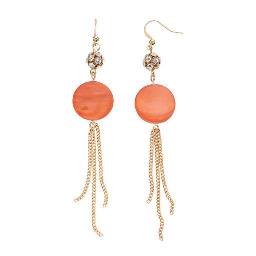 Peach Composite Shell Disc & Chain Fringe Nickel Free Drop Earrings