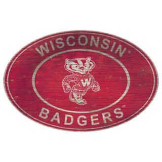 Wisconsin Badgers Heritage Oval Wall Sign