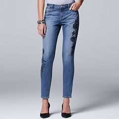 Petite Simply Vera Vera Wang Embroidered Skinny Jeans