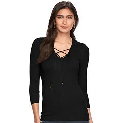 Women's Jennifer Lopez Ribbed Lace-Up Sweater