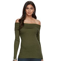Women's Jennifer Lopez Off-the-Shoulder Ribbed Sweater