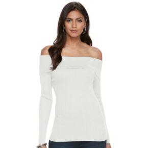 Women's Jennifer Lopez Off-the-Shoulder Ribbed Sweater