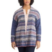 Plus Size Chaps Fairisle Open-Front Cardigan
