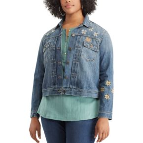 Plus Size Chaps Embroidered Jean Jacket
