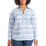 Plus Size Chaps Striped Chambray Shirt
