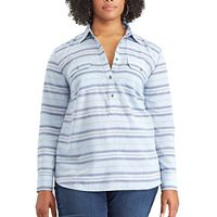 Plus Size Chaps Striped Chambray Shirt