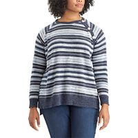 Plus Size Chaps Striped Button-Shoulder Sweater