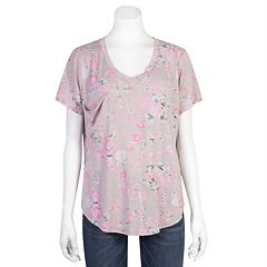 Juniors' Plus Size Grayson Threads Relaxed Floral Tee