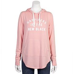 Juniors' Plus Size Grayson Threads 'Happiness is the New Black' Graphic Hoodie