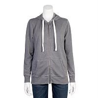 Juniors' Plus Size Grayson Threads Burnout Zip-Up Hoodie
