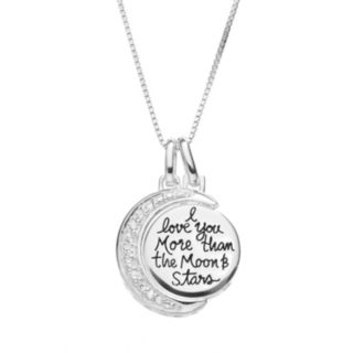 Timeless Sterling Silver Cubic Zirconia Moon & Disc Pendant