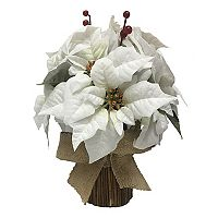 St. Nicholas Square® Artificial White Poinsettia Table Decor
