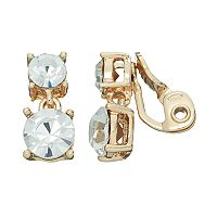 Napier Round Simulated Crystal Double Clip On Earrings