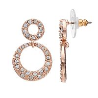 Napier Simulated Crystal Open Double Drop Earrings