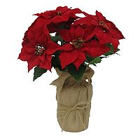 St. Nicholas Square® Artificial Red Poinsettia Burlap Table Decor