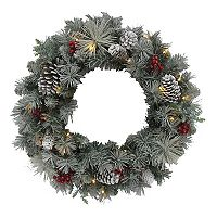 St. Nicholas Square® Pre-Lit Artificial Snowy Pine Wreath