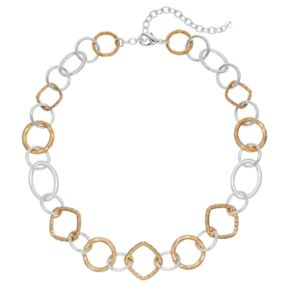 Napier Two Tone Hammered Geometric Link Necklace