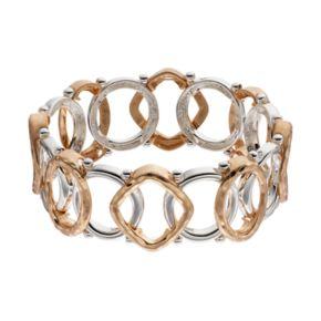Napier Two Tone Geometric Stretch Bracelet