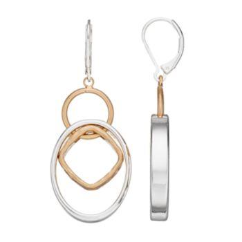 Napier Two Tone Geometric Linear Drop Earrings