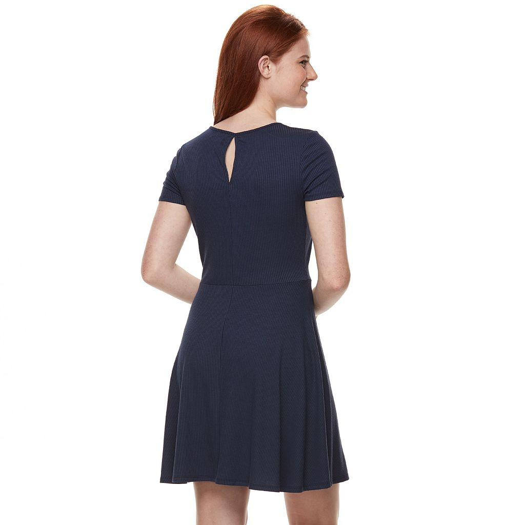 Juniors' Love, Fire Ribbed Keyhole Skater Dress
