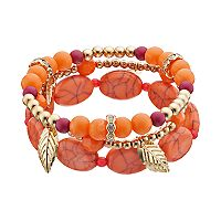 Orange Beaded Leaf Charm Stretch Bracelet Set