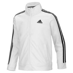 Girls 4-6x adidas Side Stripe White & Black Tricot Lightweight Jacket