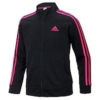 Girls 4-6x adidas Side Stripe Black & Pink Tricot Lightweight Jacket