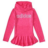 Toddler Girl adidas Pink Melange Ruffled Hoodie
