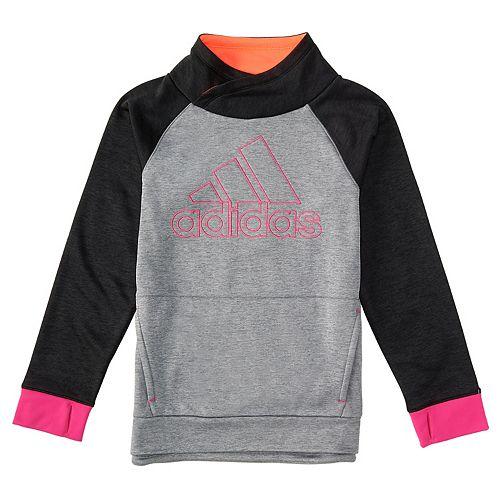 Toddler Girl adidas Black Colorblock Mockneck Sweatshirt