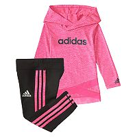 Baby Girl adidas Hooded Jacket & Speckled Leggings Set