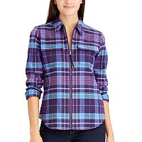 Petite Chaps Plaid Full-Zip Shirt