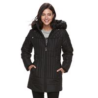 Women's d.e.t.a.i.l.s Hooded Faux-Fur Trim Quilted Jacket