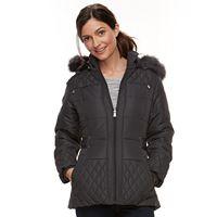 Women's Details Faux-Fur Trim Quilted Jacket
