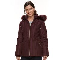 Women's Details Faux-Fur Trim Smocked Jacket