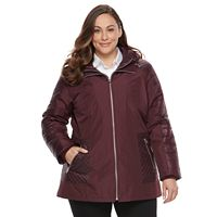 Plus Size d.e.t.a.i.l.s Mixed-Media Puffer Jacket