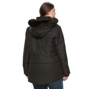 Plus Size Details Faux-Fur Quilted Jacket