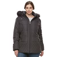 Plus Size Details Faux-Fur Quilted Jacket