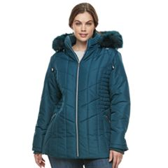 Plus Size Details Faux-Fur Trim Smocked Jacket
