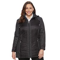 Plus Size d.e.t.a.i.l.s Hooded Mixed-Media Puffer Jacket