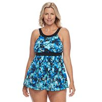 Plus Size A Shore Fit Hip Minimizer Printed Halterkini Top & High-Waisted Swim Bottoms Set