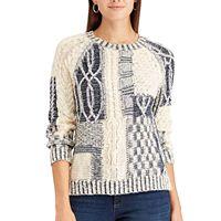 Petite Chaps Patchwork Crewneck Sweater